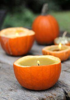 How-To: Cinnamon-Scented Pumpkin Candles #candles #autumn #DIY #pumpkin