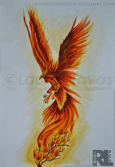 ave fénix phoenix acuarela acrílico watercolor acrylic