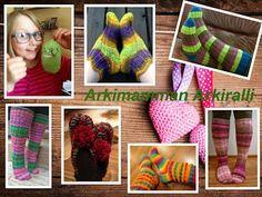 Arkimamman Arkiralli: Isomummilta liuta jämälankatossuja Fingerless Gloves, Arm Warmers, Socks, Diy Crafts, Slippers, Knitting, Crochet, Rally, Fashion
