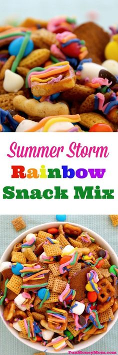 Don't just sit around during a summer storm waiting for a rainbow to appear. Grab the kids and make your own delicious rainbows with this Summer Storm Rainbow Snack Mix! #StormStockUp #ad