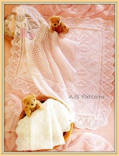 This PDF Knitting Pattern is for a pretty Design of Baby Shawl thats just perfect for Christenings and Baptisms. When completed in 3 ply it will measure approx. 36 x 36 inches (91 x 91 cm) and in 4 ply it will be 38 x 38 inches (97 x 97 cm) .  Knitted in 3 ply or 4 wool on a pair each of 3.1/4 (UK 10-USA 3) and 4 mm (UK8/USA 5 knitting needles. A handy conversion chart for wool and needle sizes is also included.  Your PDF pattern is an instant download upon receipt of payment, you will…