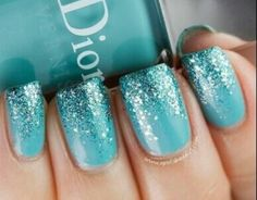 Turquoise with glitter tips