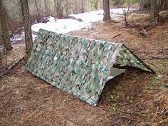 Different ways to set up a tarp for shelter.