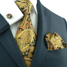 Landisun 651 Gold Black Paisley Mens Silk Tie Set: Tie+Hanky+Cufflinks 3.75 Inch at Amazon Men's Clothing store: Cufflinks For Men