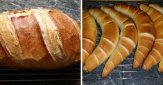 Bread, rolls and croissants (from a dough) Healthy Homemade Bread, Homemade Breads, Croissant Bread, Ciabatta, Croissants, Hot Dog Buns, Baked Goods, Cake Recipes, Biscuits
