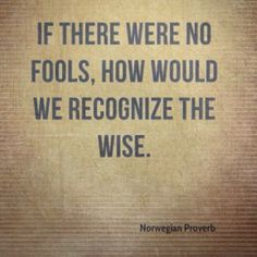 If there were no fools, how would we recognize the wise. Norwegian proverb