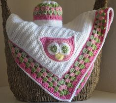 love how they did this!  Add granny square edge and put owl on the white blanket I made