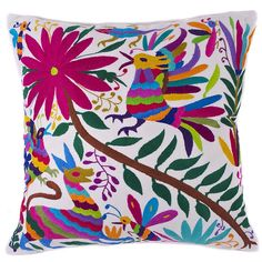 Multi-Colored Hand Embroidered Otomi Pillow with Insert - Mexican Textile Mexican Embroidery, Floral Embroidery, Gypsy Home Decor, Mexican Textiles, Fluffy Pillows, Embroidered Cushions, Mexican Designs, Mexican Art, Hand Embroidery Designs