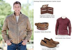Men's Saratoga Distressed Lambskin Leather Jacket by Overland Sheepskin Co. (style 29323)