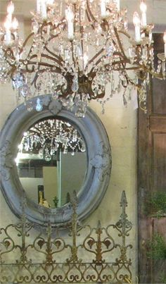 old chandelier, rusty ironworks and old mirrors - French country French Decor, French Country Decorating, Antique Chandelier, Antique Mirrors, French Chandelier, Chandelier Ideas, Ornate Mirror, Antique Market, French Countryside
