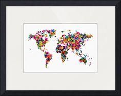 """Love Hearts Map of the World Map"" by Michael Tompsett, Castellon // Map of the World made from overlapping colorful semi-transparent hearts, on a white background // Imagekind.com -- Buy stunning fine art prints, framed prints and canvas prints directly from independent working artists and photographers."