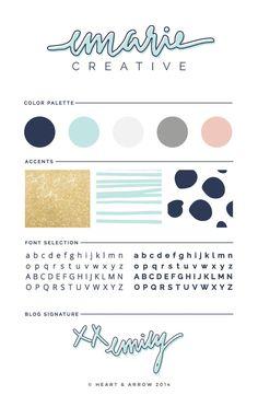 New brand board for Emarie Creative | by Heart & Arrow Design | #brand #branding #brandboard #colorscheme #moodboard