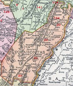 Pocahontas County, West Virginia, 1911, Map, Marlinton, Durbin, Buckeye, Edray, Slatyfork, Cass, Dunmore, Green Bank, Arbovale, Bartow, Clawson, Dilleys Mill, Watoga, Seebert, Braucher, WV. See My Genealogy Hound for an enlarged map view and a detailed list of all locations on this map. West Virginia Counties, Virginia Hill, West Virginia History, West Va, County Map, All Locations, Old Maps, Family History, Wonderful Places