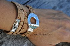 Silver Toggle Cork Leather Bracelet  Leather by ChristineChandler