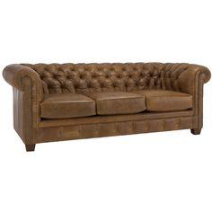 Hancock Tufted Distressed Saddle Brown Italian Chesterfield Leather Sofa