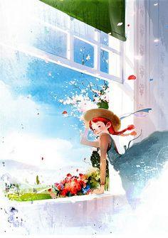Anne of Green Gables illustration by Kim, Ji-Hyuck(김지혁)(hanuol). Anne Green, Art Anime Fille, Anime Art Girl, Anne Auf Green Gables, Beau Film, Children's Book Illustration, Cute Art, Illustrators, Fantasy Art