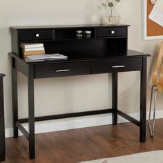 Valona Modern Writing Desk with Optional Hutch - BlackDesk dimensions:42L x 23.75W x 30H inches Hutch dimensions: 42L x 9W x 8.75H inches