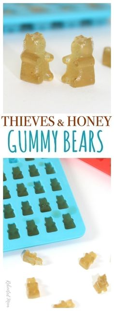 Gummy bears- Combine Thieves Vitality Essential Oil with Lemon Vitality Essential Oil to make these cute gummy bears that'll help support your immune system!