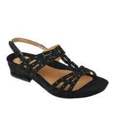 Look what I found on #zulily! Black Rhinestone Tica Leather Sandal by Earthies #zulilyfinds
