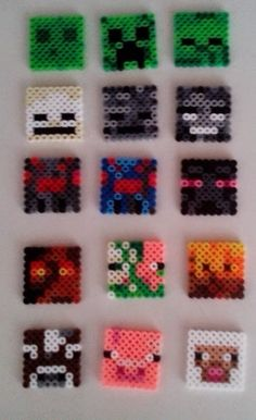 I made these and turned them into backpack clips and necklaces. Minecraft Mob Face perler bead magnets by EadrasLodestones Hama Beads Minecraft, Minecraft Mobs, Minecraft Crafts, Minecraft Characters, Hama Beads Design, Hama Beads Patterns, Beading Patterns, Fete Laurent, Perler Bead Templates