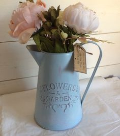 Zinc metal jug pitcher vase for flowers hand painted VTG shabby chic by DottyCottage1 on Etsy
