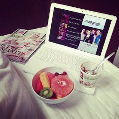 All we need on Sundays is our Mac, ELLE magazine and delicious fruits