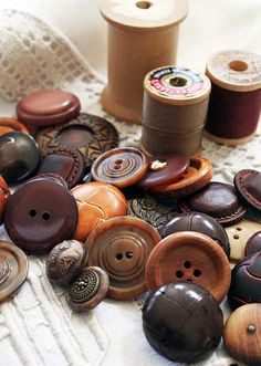 Vintage buttons in brown hues