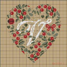 "Heart of Berries ""V"" 1 of 5 Cross Stitch Letters, Just Cross Stitch, Cross Stitch Heart, Cross Stitch Samplers, Cross Stitching, Cross Stitch Embroidery, Embroidery Alphabet, Cross Stitch Collection, Christmas Cross"