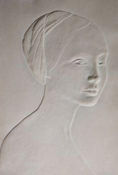 Portrait of a Young Girl Bas Relief Sculpture by Dario Campanile