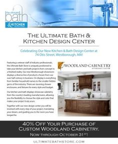 The Ultimate Bath Westborough, Massachusetts location. #woodland cabinetry #kitchen cabinets