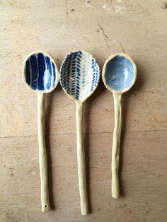 Handmade Ceramic Spoon Handpainted by DebbieNichollsStudio on Etsy