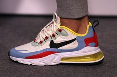 Nike's latest hybrid sneaker is the Air Max 270 React, featuring Nike's proprietary cushioning foam with an Air Max 270 upper. Air Max Sneakers, Sneakers Mode, Custom Sneakers, Sneakers Fashion, Nike Air Max, Hype Shoes, Air Max 270, Me Too Shoes, Nike Men