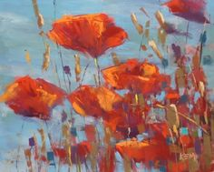 New Digital Demo Painting Expressive Flowers: Poppies in the Sun, painting by artist Karen Margulis