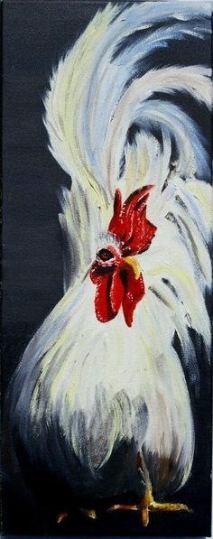 Items similar to Japanese Cockerel - Original Oil Painting on Canvas on Etsy Rooster Painting, Rooster Art, Chicken Painting, Chicken Art, Drawn Art, Chickens And Roosters, Art And Illustration, Animal Paintings, Oil Paintings