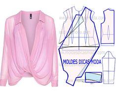 BLUSA TRESPASSE ROSA -101 - Moldes Moda por Medida
