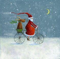 Der Nikolaus ist unterwegs Santa Claus is on the way Christmas Scenes, Noel Christmas, Christmas Pictures, Winter Christmas, Vintage Christmas, Christmas Crafts, Christmas Decorations, Illustration Noel, Christmas Illustration