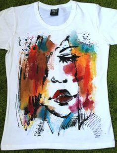 Woman's Portret colorfil tshirt. Art Аquarelle by palettePandora