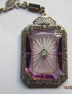 Terrific Art Deco Sterling Filigree Camphor Glass Necklace Super Nice Estate PC | eBay