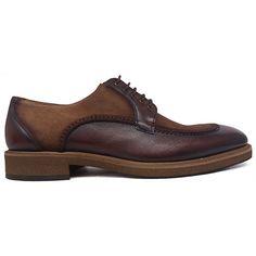 0a7d4884 8522 Zapato blucher noruego ccombinado en ante y piel de color cuero de  Lorens | Calzados Garrido