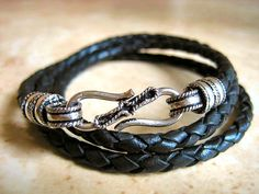 Jet Black Braided Leather Triple Wrap Bracelet with by LeatherDiva, $32.00