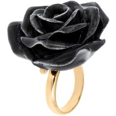 Nach Bijoux Golden Brass & Porcelain Ring (€60) ❤ liked on Polyvore featuring jewelry, rings, accessories, black, brass jewelry, adjustable rings, flower jewellery, golden ring and flower jewelry