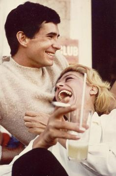 """Melina Mercouri and Anthony Perkins in director Jules Dassin's """"Phaedra"""" Anthony Perkins, Hollywood Actor, Old Hollywood, Couple Laughing, Ford, Star Wars, Movie Couples, Belly Laughs, Woody Allen"""