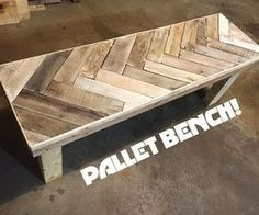 Check out this Instructable and Youtube Video about how to make a Herring Bone Patterned bench from pallet wood!This project is easy and only requires a few tools: a circular saw, drill, chalk line, and nailgun.You can make many different patterns on the top of the bench, the design I chose was the Herring bone or fish bone style pattern. This chevron pattern has the top pallet board slats angled at 45 degrees and it then patterned on the remaining length of the bench. The bench is…