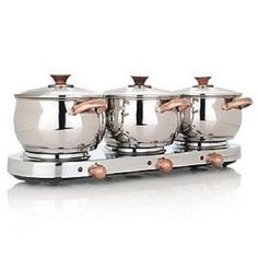 Command Performance 3qt Triple-Burner Buffet Set with Copper Handles. $77.99 at midwestservicecloseouts on ebay, 6/4/15