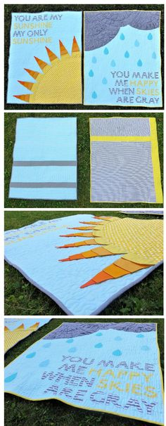 Gender neutral, coordinating twin baby quilts. Each quilt has a 3-dimensional pop of texture and interest for the babies to play with. You are my sunshine lyrics quilts. Gray Skies Quilt. You are my sunshine quilt. Sunshine quilt.
