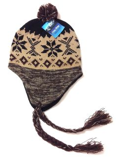 New(MfgDefect) Tan Brown Black GEOMETRIC CHULLO BEANIE Winter Knit Hat Men Women   PolarWear  Beanie c8115515b11f