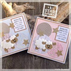 Kaartjes voor geboorte met schaapjes gestanst uit wattenschijfjes Marianne Design