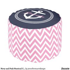 Navy and Pink Nautical Chevron Anchor Monogram Round Pouf for a Girl Nursery or Bedroom.