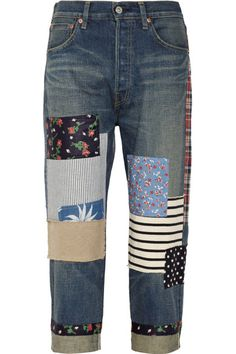 Blue mid-weight denim Belt loops, five pockets, faded, multicolored patterned patches Button and concealed zip fastening at front 100% cotton; pocket: 100% cotton; fabric1: 100% cotton; fabric2: 100% cotton; fabric3: 100% cotton; fabric4: 100% cotton; fabric5: 70% cotton, 30% linen; fabric6: 100% linen; fabric7: 100% polyester; fabric8: 100% Lyocell; fabric9: 100% cupra; patch: 100% leather (Cow)  Hand wash or dry clean Designer color: Indigo