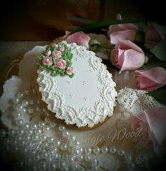 My love, Easter egg in lace and pink roses. Cookie artist, Teri Pringle Wood